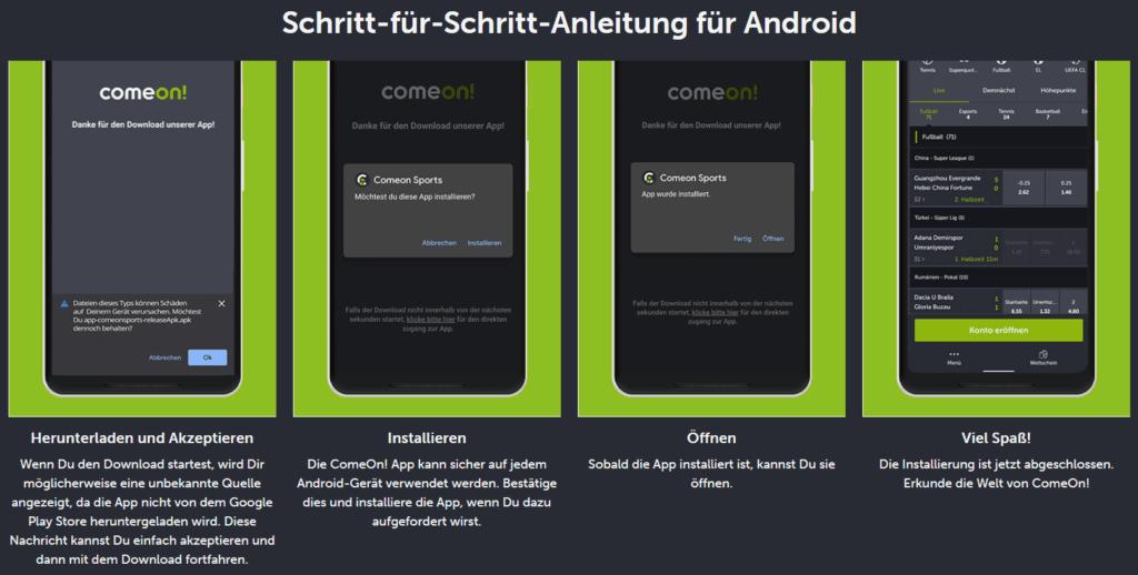 ComeOn App Installation