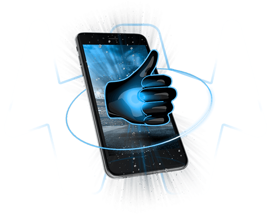 Handy mit Daumen hoch auf transparentem Hintergrund