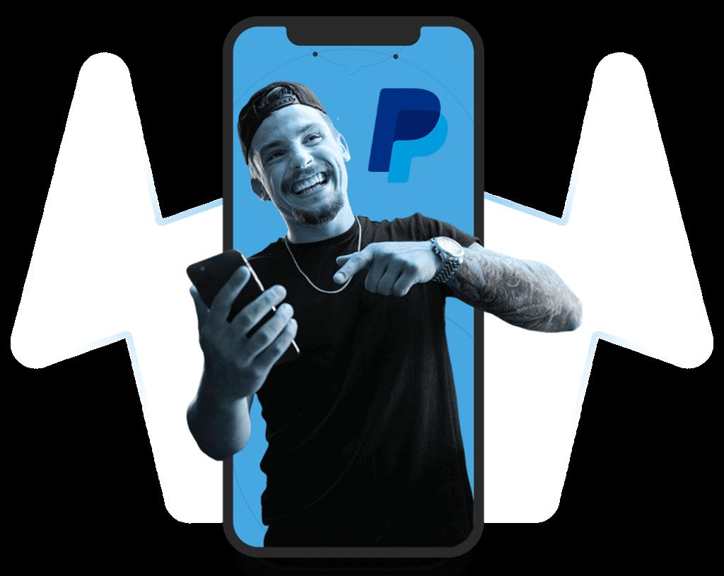 Handy mit Mann und PayPal-Logo auf transparentem Hintergrund