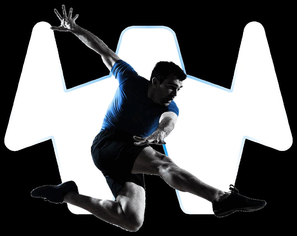 Fußballspieler in Schusspose mit transparentem Hintergrund