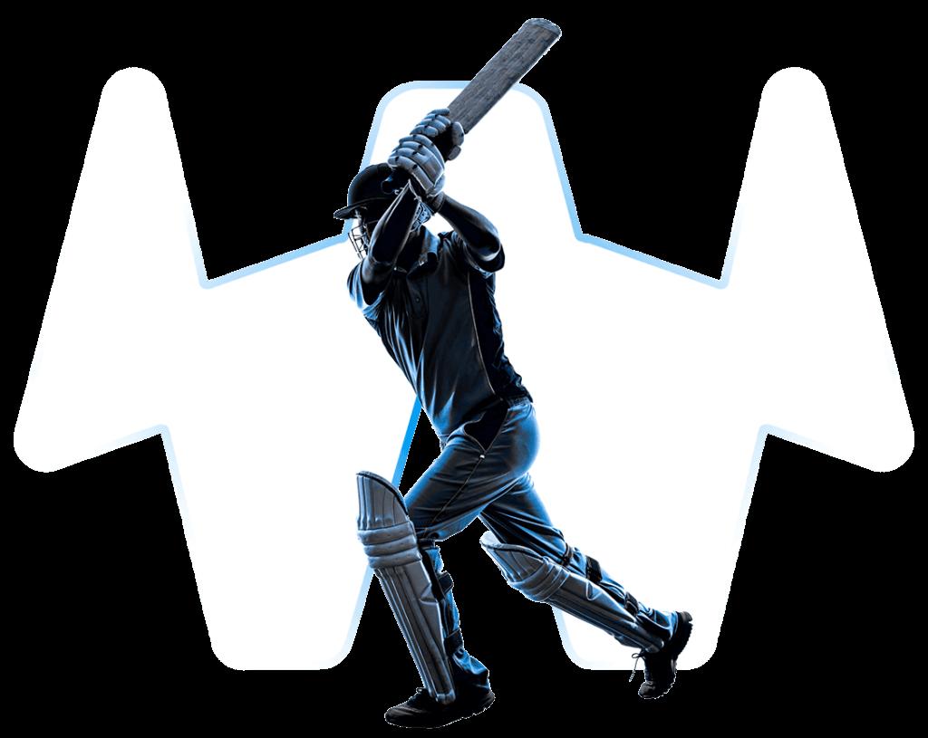 Cricketspieler mit transparentem Hintergrund