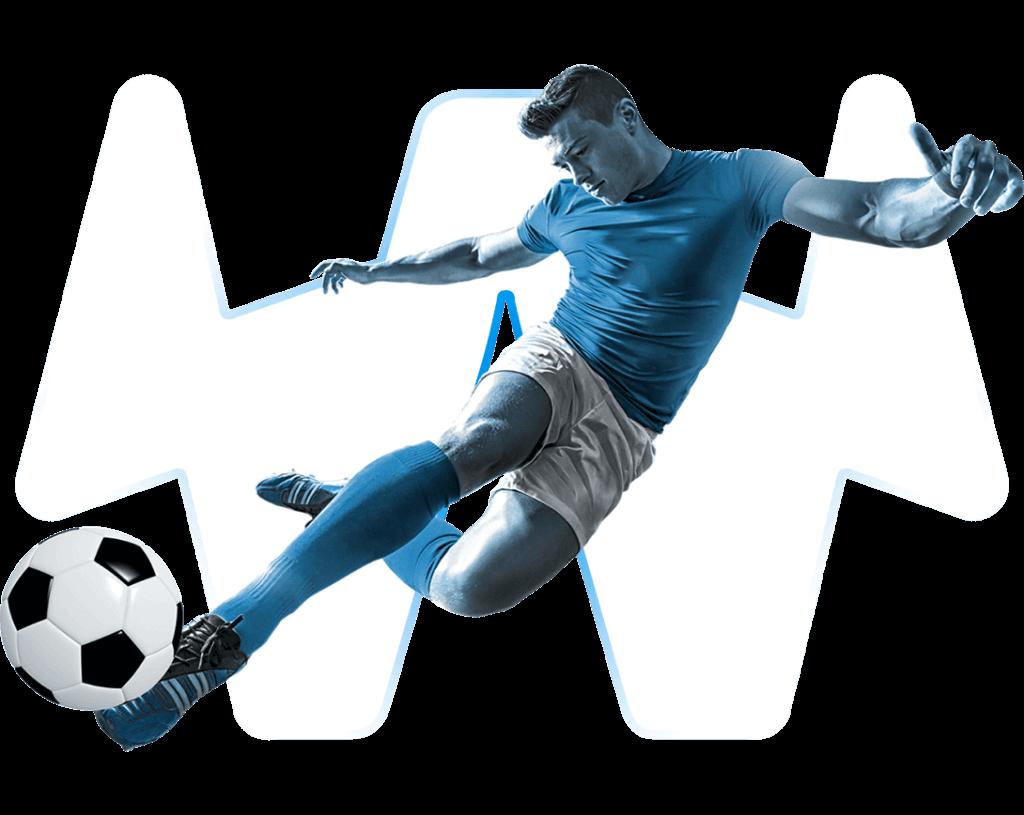 Fußballspieler mit Seitfallzieher auf transparentem Hintergrund