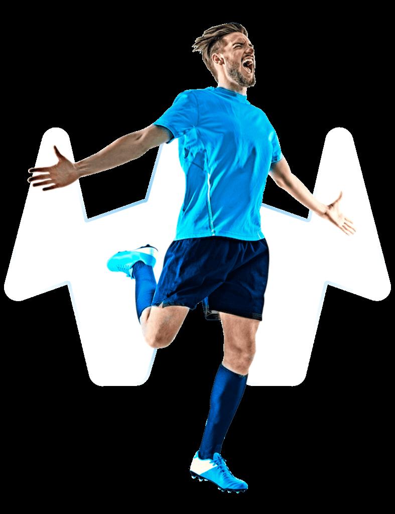 Fußballspieler jubelt mit transparentem Hintergrund
