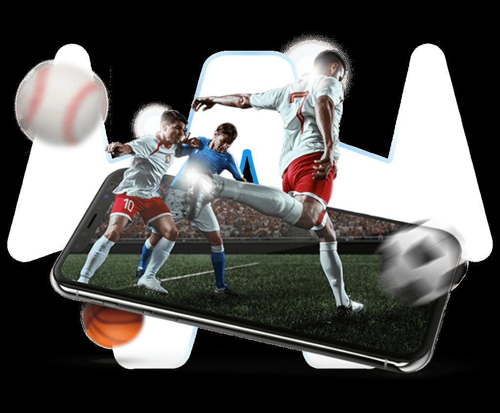 Handy mit Fußballspielern auf transparentem Hintergrund
