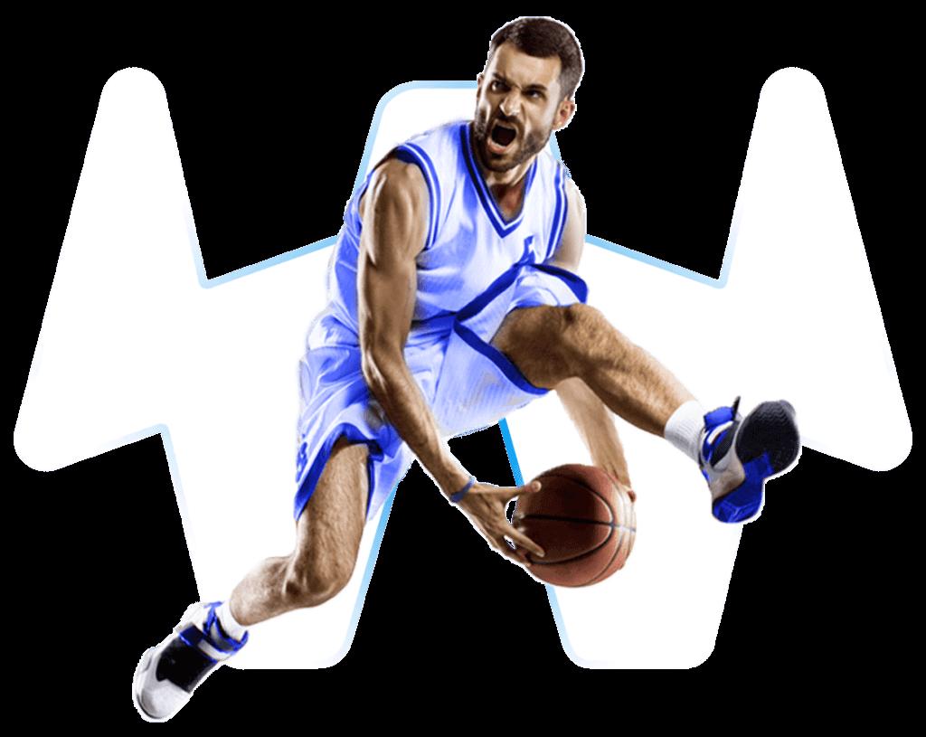 Basketballspieler mit transparentem Hintergrund