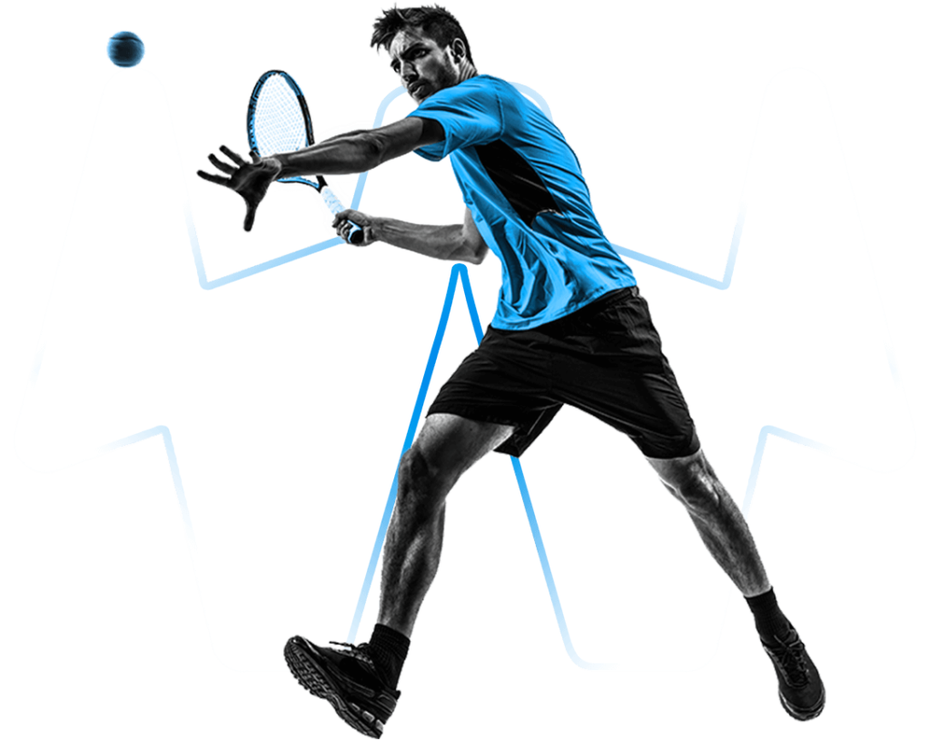 Tennisspieler mit transparentem Hintergrund