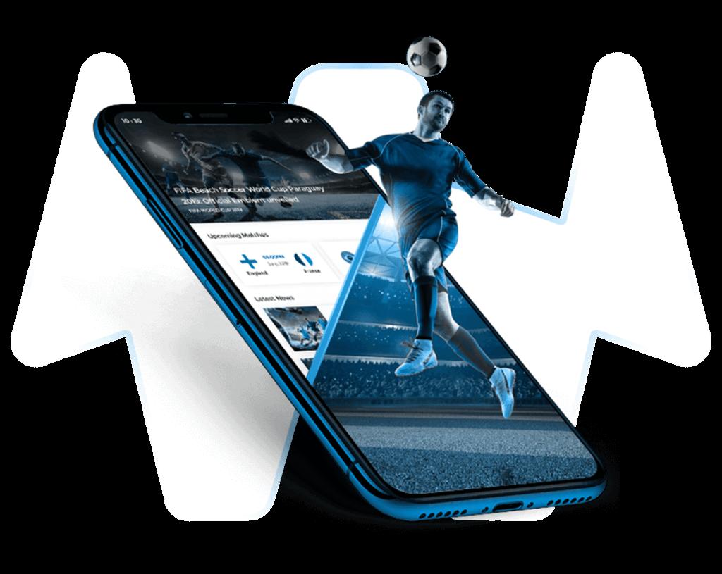 Handy mit Fußballer auf transparentem Hintergrund