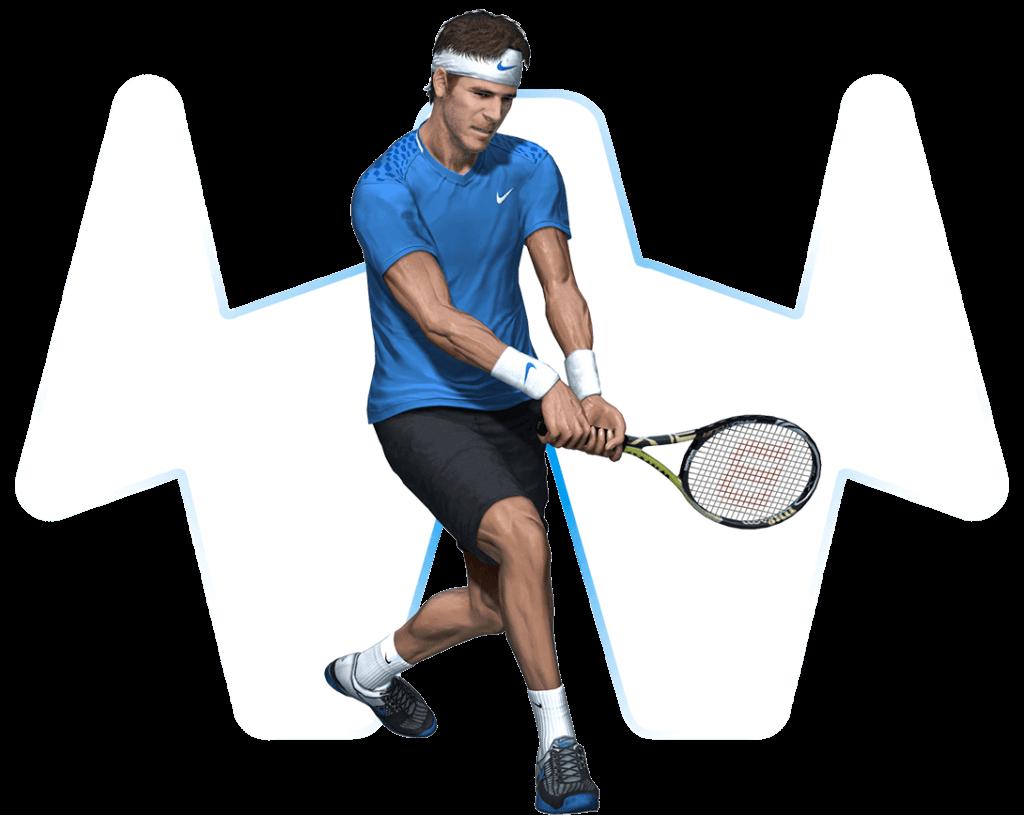 Animierter Tennisspieler mit transparentem Hintergrund