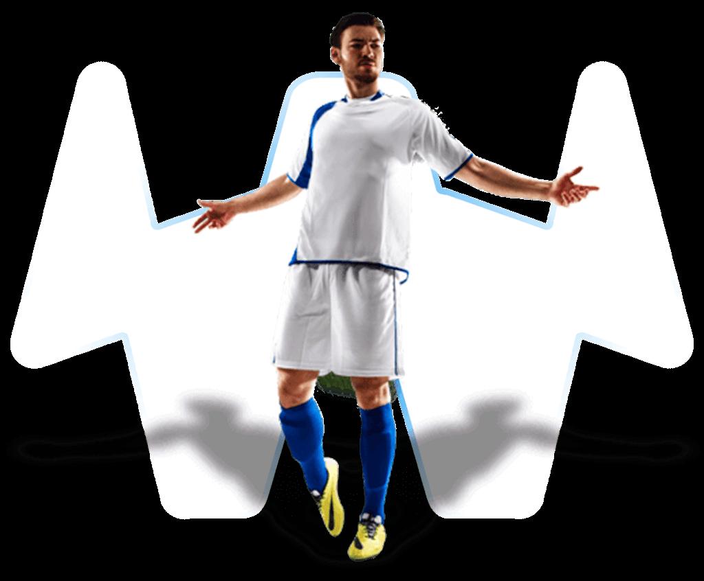 Fußballer mit Jubelpose auf transparentem Hintergrund