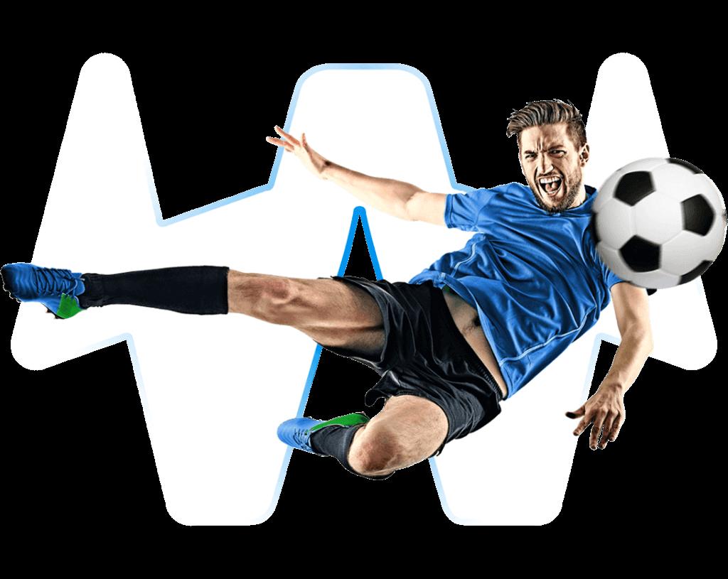 Fußballspieler in Seitfallzieher-Pose mit transparentem Hintergrund