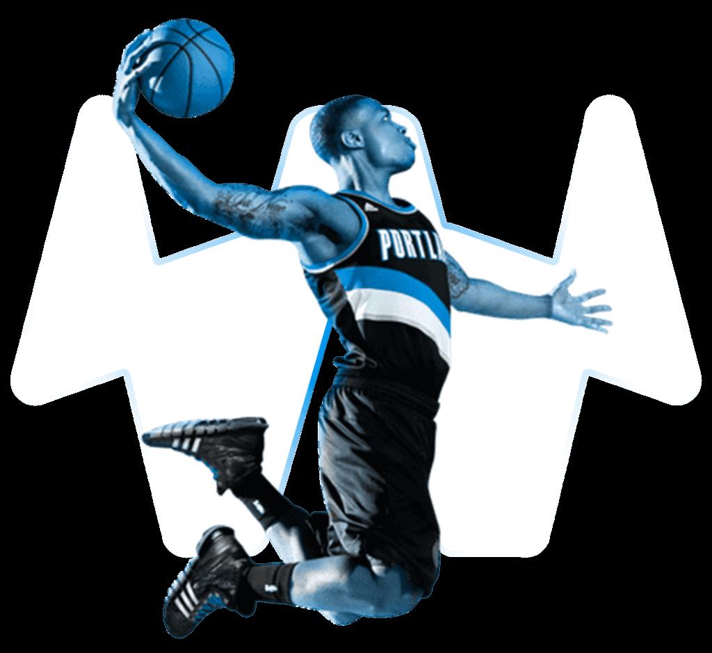 Basketballspieler beim Dunk mit transparentem Hintergrund