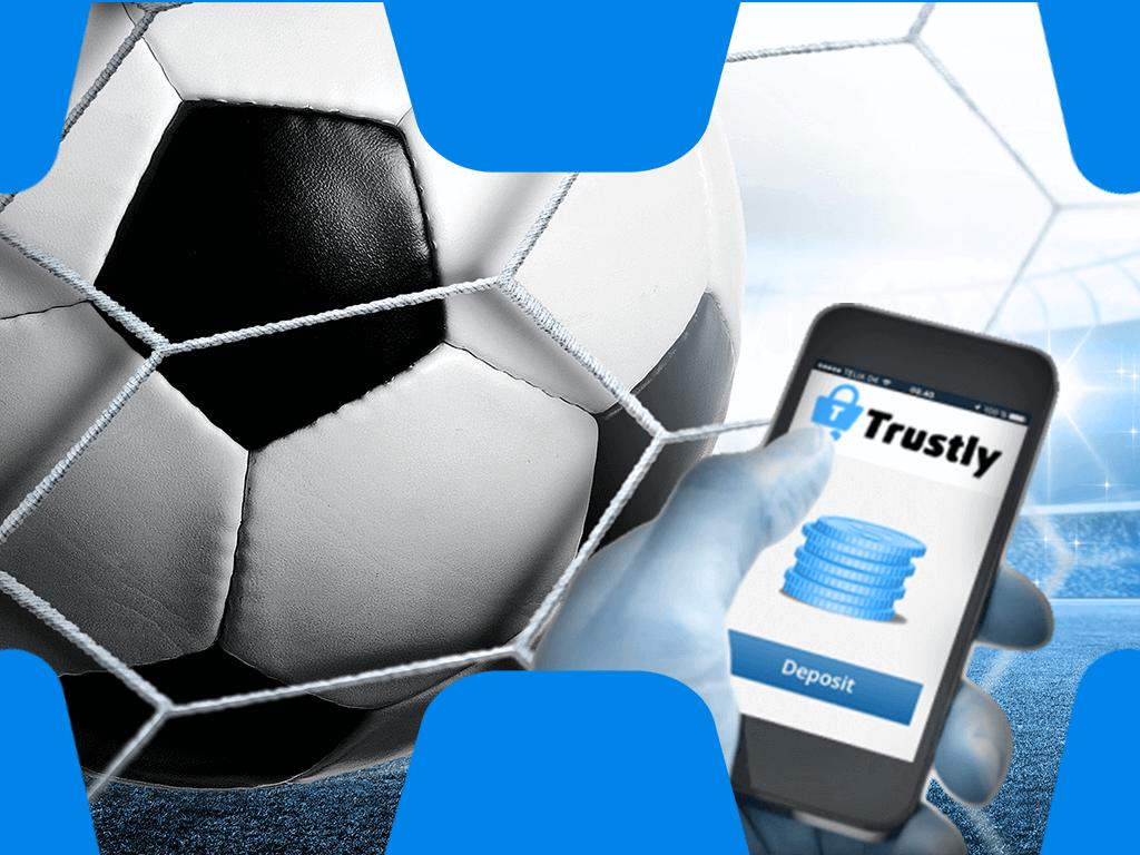 Fussball mit Handy und Trustly Logo