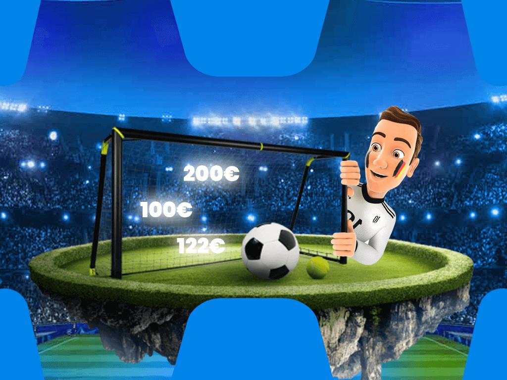 Wettzentrum Maskottchen mit Fußball und Tor