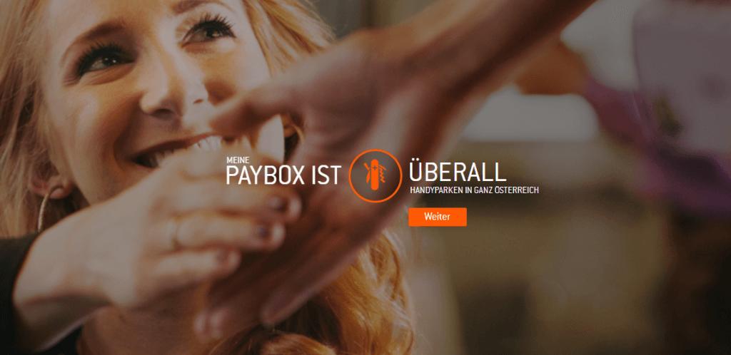 Paybox Logo mit Frau und Handschlag