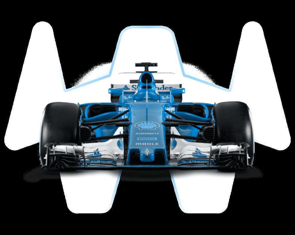 Formel 1 Auto von vorne mit transparentem Hintergrund
