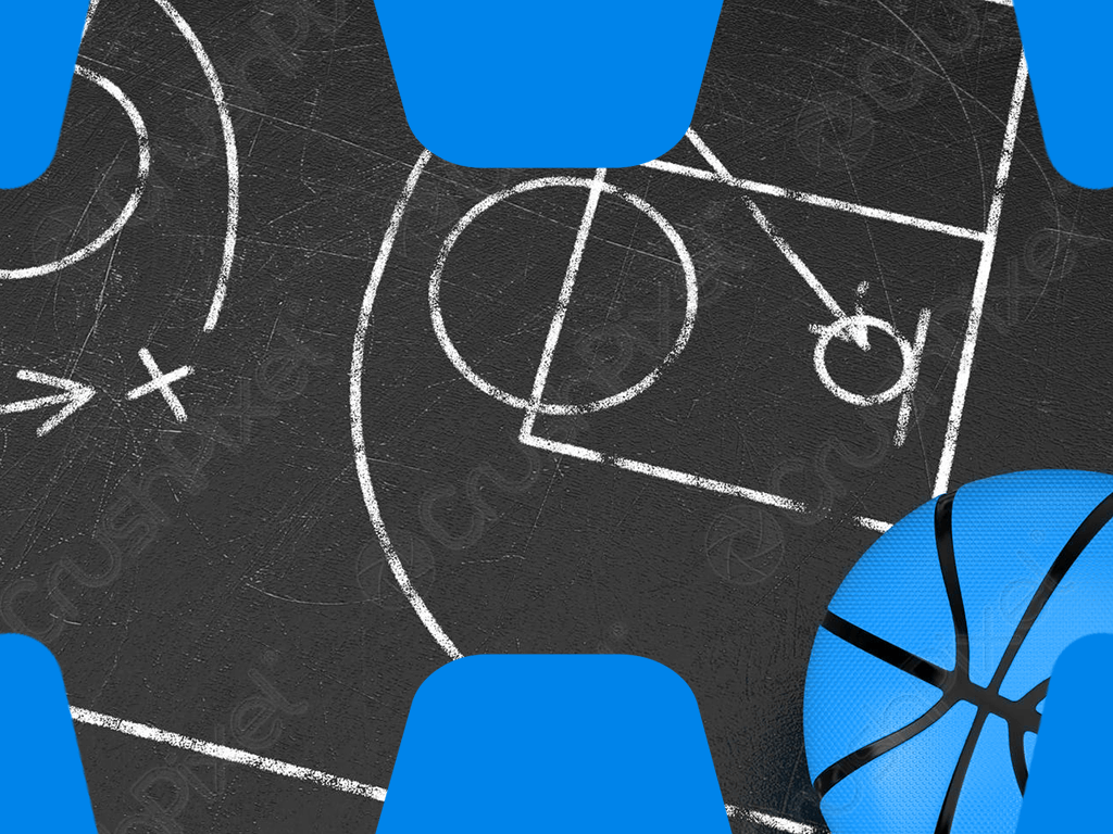 Basketball Taktiktafel mit Einzeichnungen