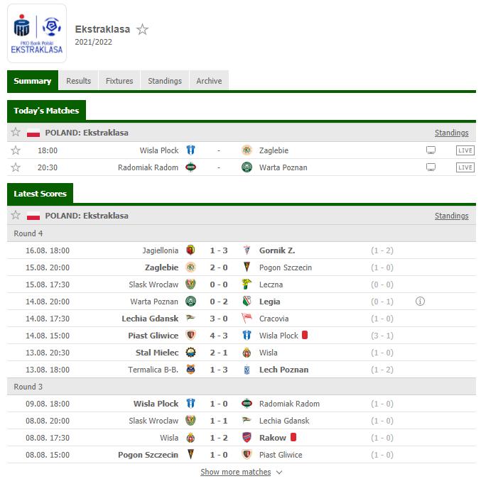 Ekstraklasa Screenshot von Flashscore