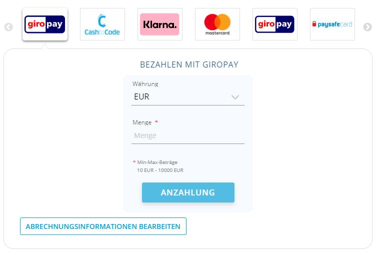Giropay Einzahlung bei 1bet Screenshot