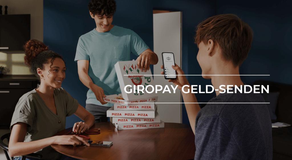 Giropay Geld senden Illustration mit Pizza-Bestellung