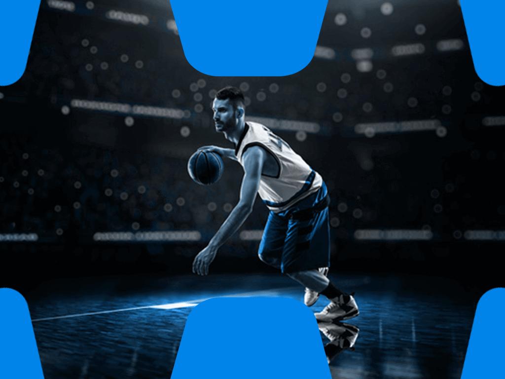Basketballspieler beim Dribbling