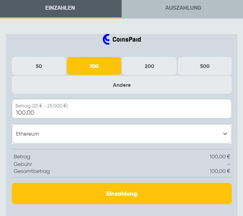 Einzahlung mit CoinsPaid bei Campeonbet