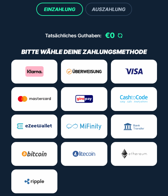 PlayZilla Einzahlungsmethoden